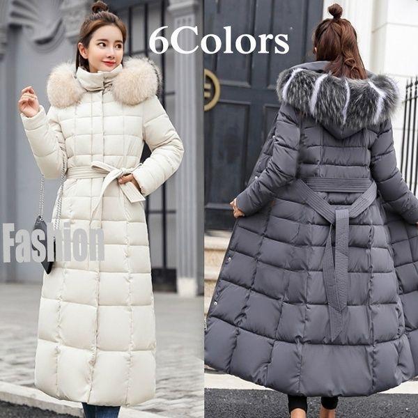 Womens Ladies Hooded Long Cotton Down Blend Parka Winter Coat Overcoat Jacket