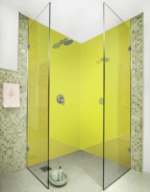 Green Yellow coloured acrylic shower panels