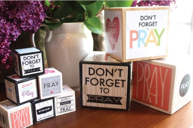 Darling blocks that remind you to pray! Just get the blocks and use these prints - would be a fun craft project!