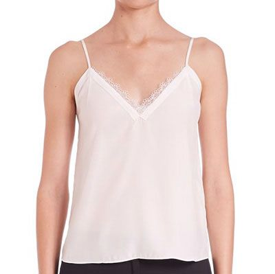 The Kooples Silk & Lace Camisole - white cami top, white v-neck cami top, white lace v-neck cami top, white lace neckline cami top