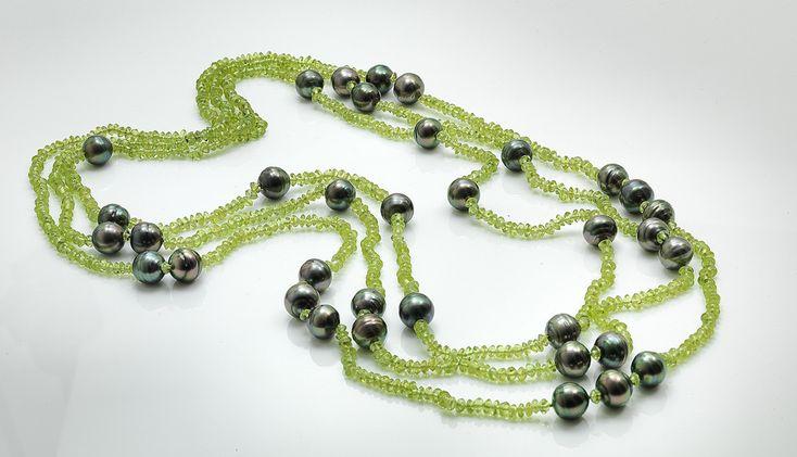 Tahitian pearls & faceted peridots, Assael Pearls, shop, deleuse.com