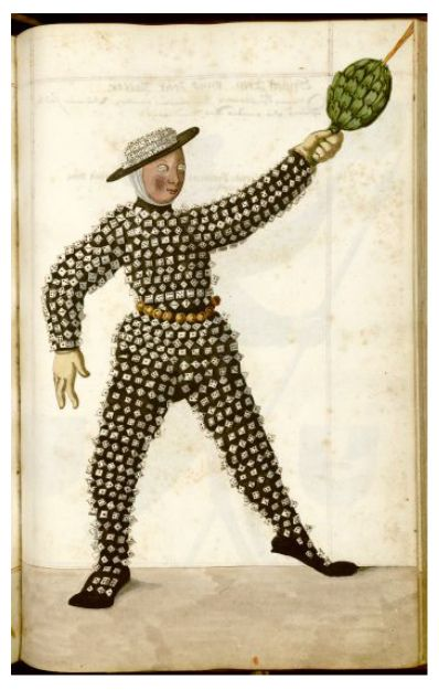 Just one of the many amazing costumes featured in this 16th manuscript about the Schembart Carnival held in Nuremberg between 1449 and 1539.
