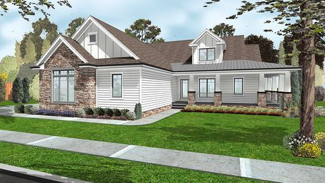 3 Bed Farmhouse with Split Bed Layout - 62548DJ | Country, Farmhouse, Ranch, Traditional, 1st Floor Master Suite, Butler Walk-in Pantry, CAD Available, Jack & Jill Bath, PDF, Split Bedrooms, Wrap Around Porch, Corner Lot | Architectural Designs