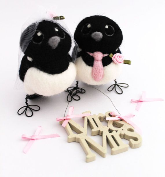 Magpie bride and groom wedding cake topper. A beautiful pair of needle felted bride and groom birds with details to customise to your
