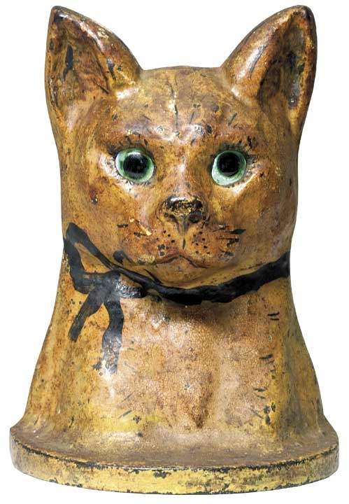 A Rare Painted Cast-Iron Cat Doorstop with Glass Eyes    American, circa 1900.: American Doors, Antiques Cast Irons, Antiques Doorstop, Glasses Eye, Cast Irons Cat, Folkart, C1900, Irons Doors, Cat Doorstop