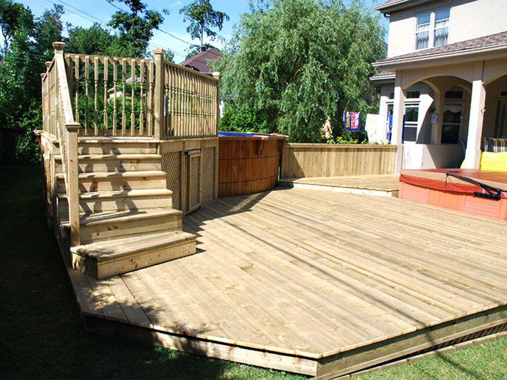 Plate-forme et deck de piscine en bois traité