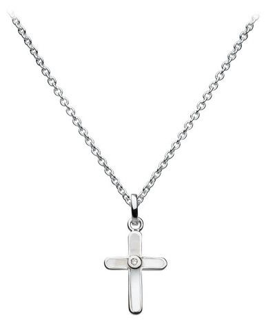 Kit Heath Kids Cross Necklace with Diamonds and Mother of Pearl   CuteKidStuff.com