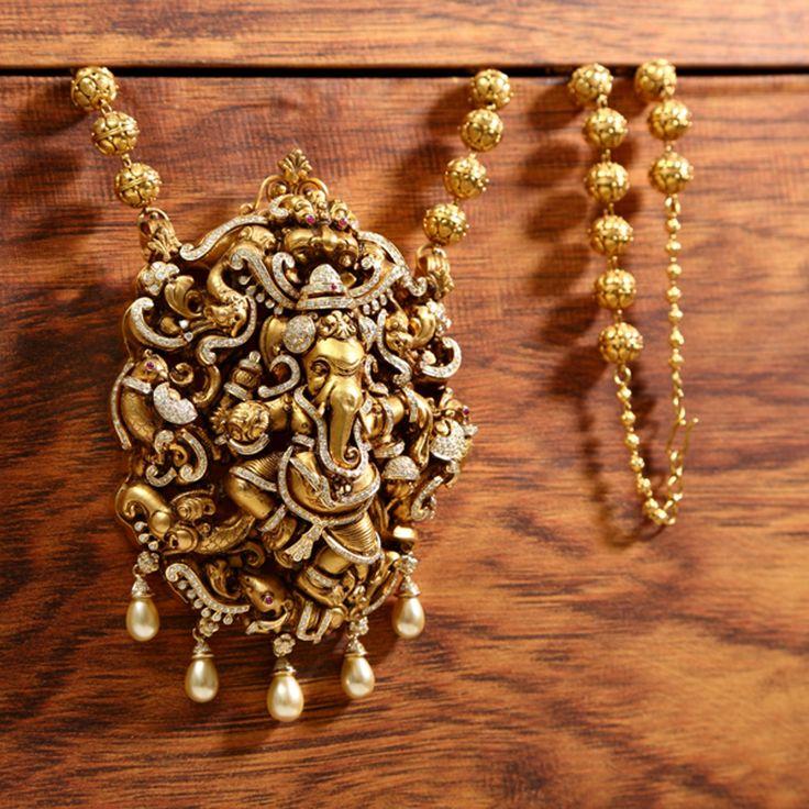 Diamond Ganesha Pendant with Nagas from Vummidi www.addiga.com