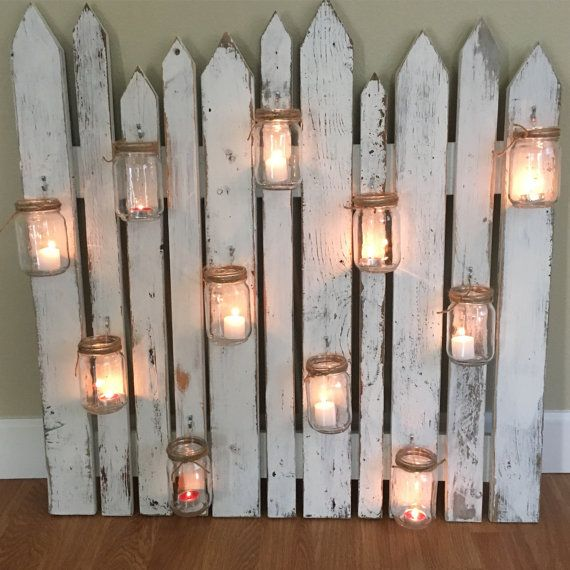 14 Light Diy Mason Jar Chandelier Rustic Cedar Rustic Wood: Rustic Picket Fence With Mason Jars
