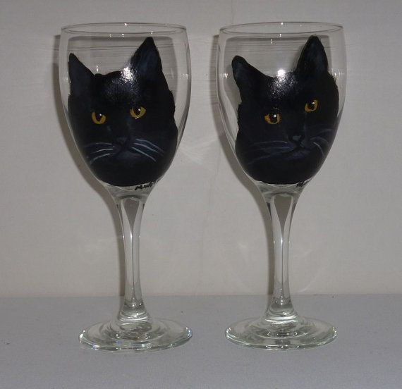 Hand Painted Black Cat Wine Glasses set of 2 by PetloversBoutique, $35.00