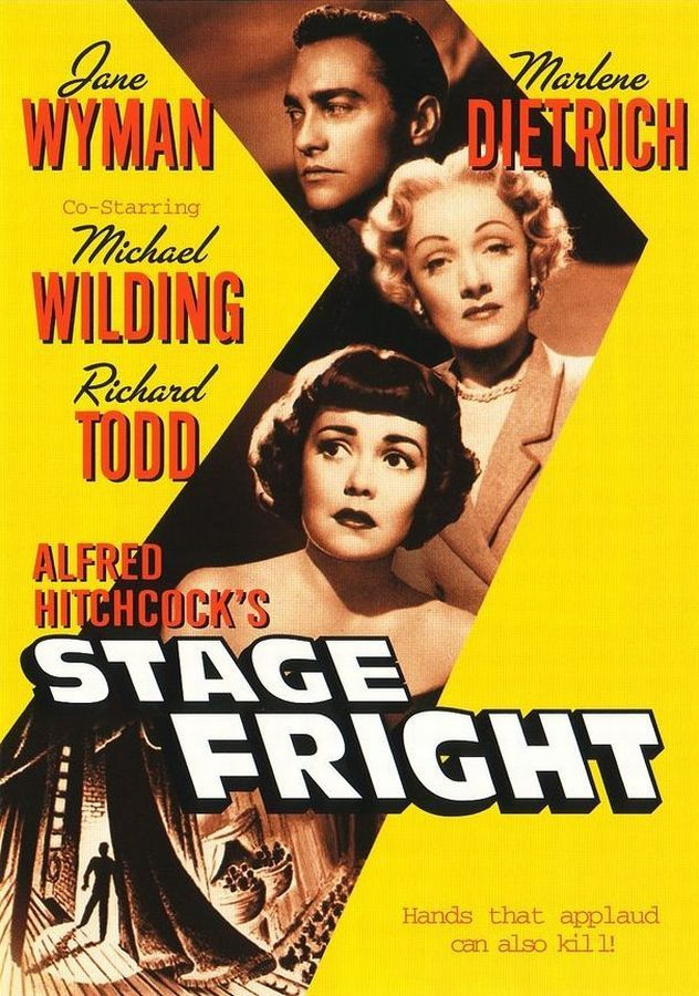 """""""Stage Fright"""" (1950) Directed by Alfred Hitchcock. With Marlene Dietrich, Jane Wyman, Richard Todd, Michael Wilding."""