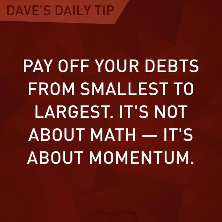 Dave Ramsey Don even look at interest- it doesn't matter!! Just pay, pay, pay…