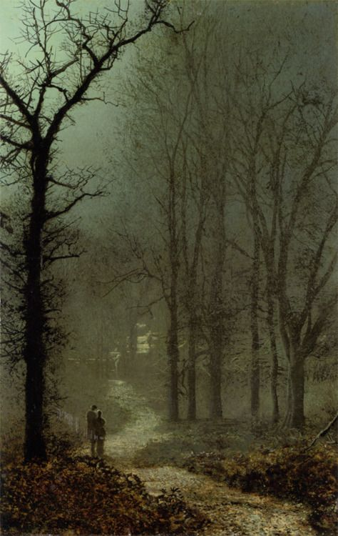 Love the mood created here dark and mysterious   John Atkinson Grimshaw, Lovers in a Wood, 1873