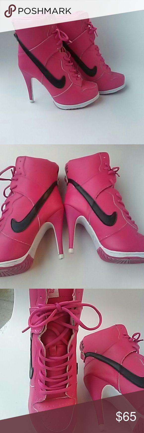 Nike high heel shoes Pink size 7 nike high heel shoes lightly uesed Nike Shoes Heels