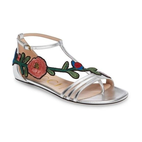 Women's Gucci Ophelia Flower Sandal (€610) ❤ liked on Polyvore featuring shoes, sandals, metallic silver, blossom footwear, blossom shoes, caged shoes, gucci sandals and embroidered sandals