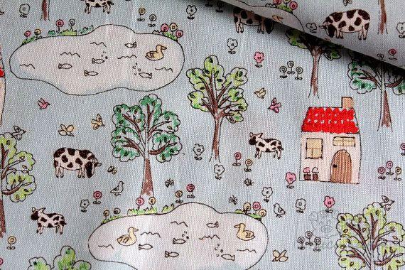 Tissu de coton japonaisYard ferme 05 yard par fatconnection sur Etsy, $7.00