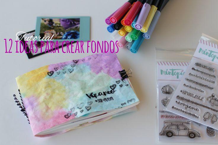 Video tutorial con 12 Ideas Para Crear Fondos con sellos Mintopía, tintas distress oxide y rotuladores tombow dual brush pen