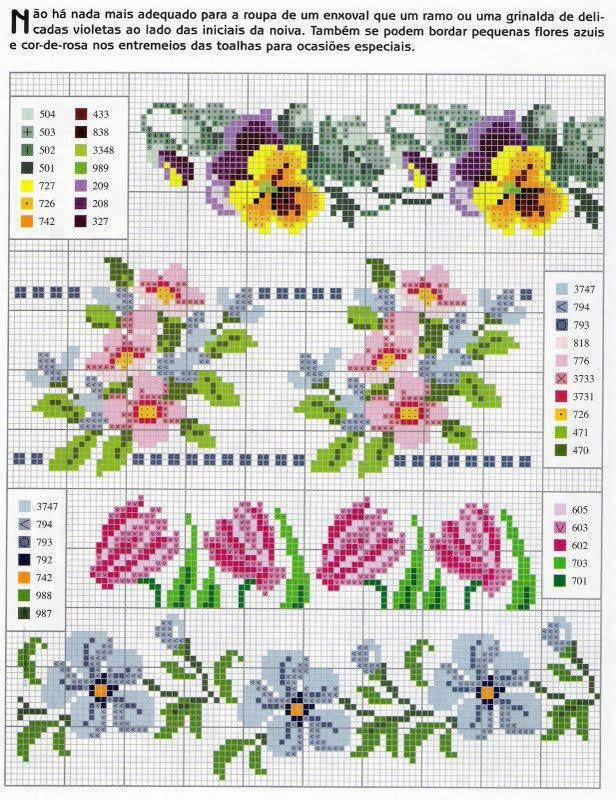 A través de Lydia Brown floral cross stitch