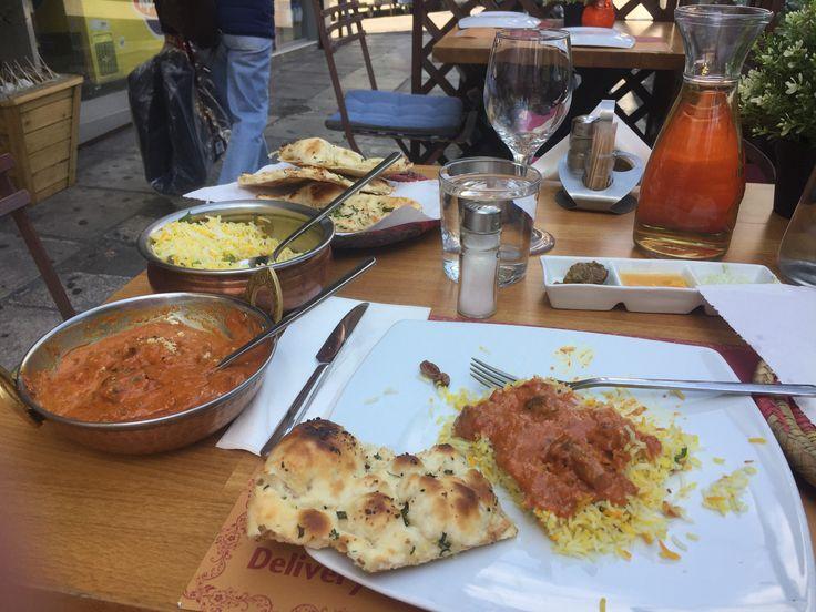 Indian lunch in Athens, Greece...sooooo GOOD!! Mushroom Butter Masala, Garlic Naan & Pilau Rice😍