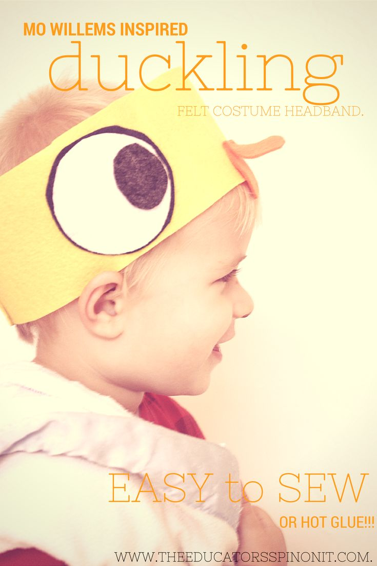 Easy to Sew Duckling Costume Headband for Pretend Play or Halloween (My 4 year old sewed most of this headband on his own!!!) Great for preschool activities on the farm too!