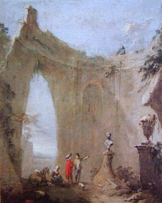 Norbert Grund - Římská ruina s pávem a venkovany, kol. 1760