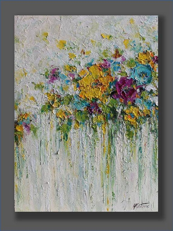 Acrylic flowers abstract painting done with palette knife on canvas.  TITLE…