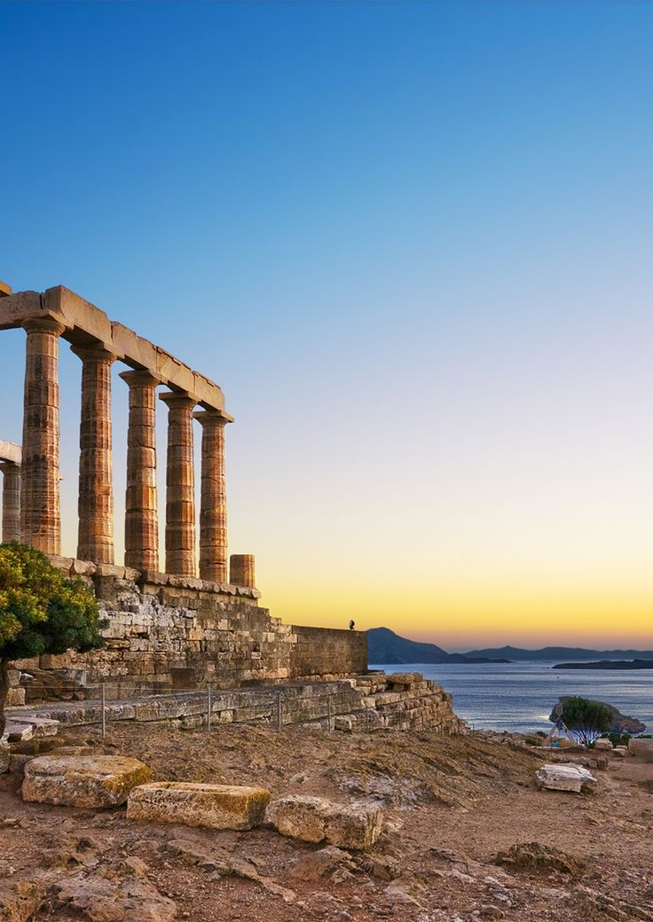 Sunset at Cape Sounion in Greece