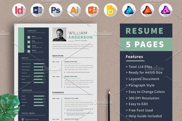 Resume Template Cv Design 5 Page By Alice S On Creativemarket Resume Resume Template Resume Words