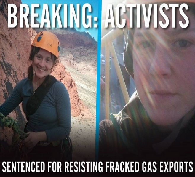As part of the defenders of Cove Point (Chesapeake Climate Action Network) - 2 activists have made it their personal business to oppose a $billion-energy-corporation building a liquefied natural gas (LNG) export facility to send gas produced by hydraulic fracturing along the Marcellus Shale - & getting themselves jailed. Shipping natural gas down this waterway threatens both the cove & the Chesapeake estuary. http://chesapeakeclimate.org/maryland/covepoint/