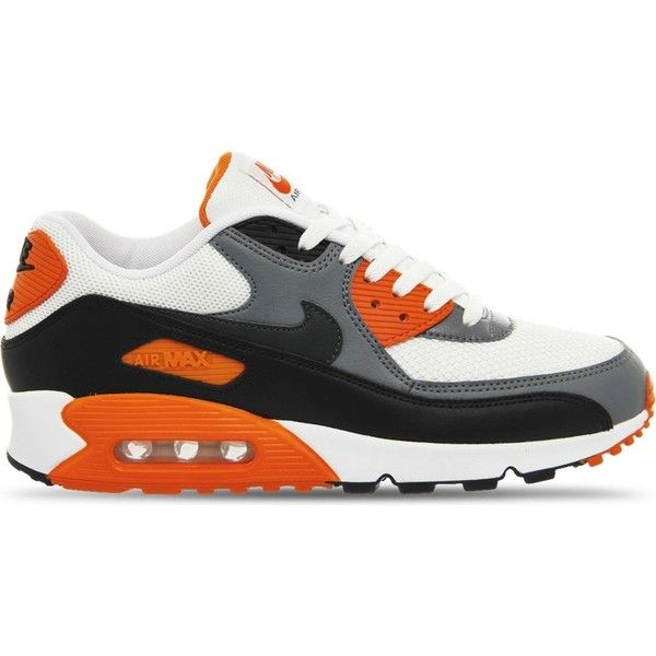 NIKE Air Max 90 Ultra trainers (180 AUD) ❤ liked on Polyvore featuring shoes, sneakers, white grey orange, mens orange shoes, mens white leather shoes, mens orange sneakers, mens monk strap shoes and mens leopard print shoes