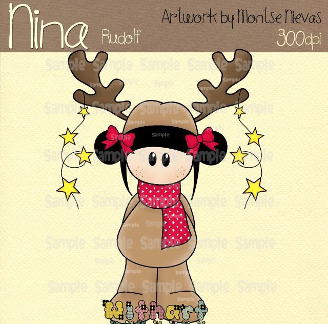 Nina dolls clipart, digital Illustration by Withart for scrapbooking, cardmaking and crafts. Christmas, doll, Rudolph www.etsy.com/shop/withart