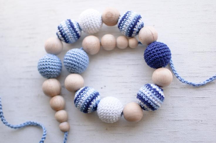 Nursing necklace / Teething necklace - Blue, Light blue, White - Nautical  via Etsy.