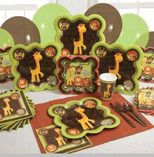 safari tableware and decorations baby shower