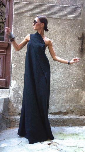 XXL,XXXL Maxi Dress / Black Kaftan Linen Dress / One Shoulder Dress…