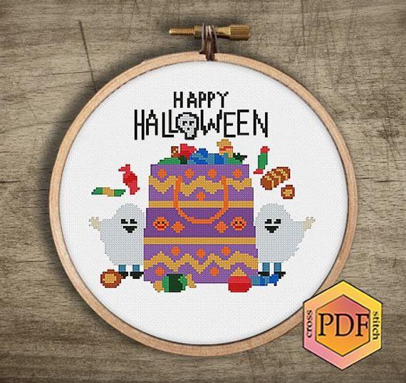 DMC Modern Holiday Christmas Halloween Cross Stitch Pattern Chart Kit 14 Count