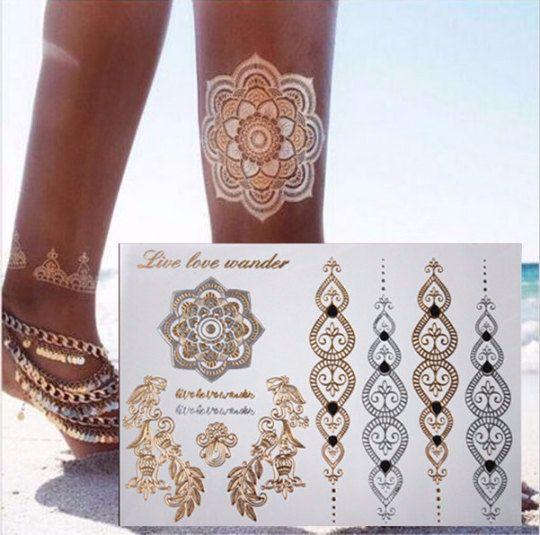 "Flash tattoo. Gold and Silver ""Mandala golden leaves vine tattoo"""