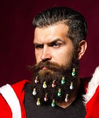 ❤ Один американец придумал (или подсмотрел где) новогодние украшения для бороды (и успешно их продает). ❤