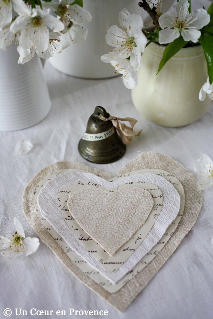 Coeur en papier et tissu