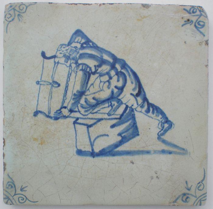 Online veilinghuis Catawiki: Antieke tegel met Timmerman  ( Zeldzaam )
