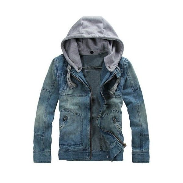 Zippered Removable Hood Denim Jacket (39 BAM) ❤ liked on Polyvore featuring men's fashion, men's clothing, men's outerwear, men's jackets, mens zip jacket and mens zipper jacket
