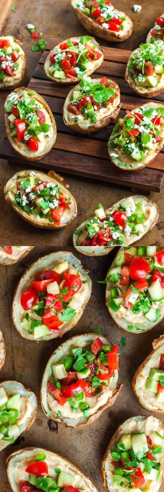 These Healthy Mediterranean Potato Skins with Roasted Garlic Hummus prove that tasty appetizers can be good for you too!
