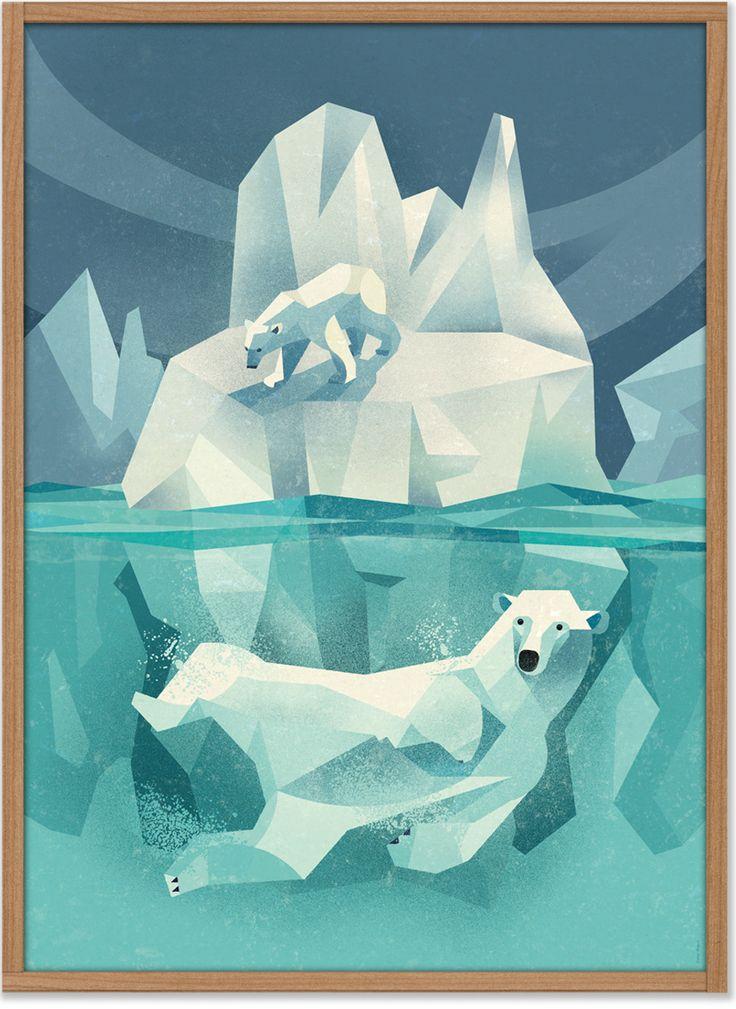 """Der """"Swimming Polar Bear"""" ist ein neues Poster-Artwork des Hamburger Illustrators Dieter Braun. Auf vielen Reisen studiert Dieter Braun eingehend Tiere aller Art und zeichnet sie in einer Perfektion wie kein anderer.   • Design: Dieter..."""