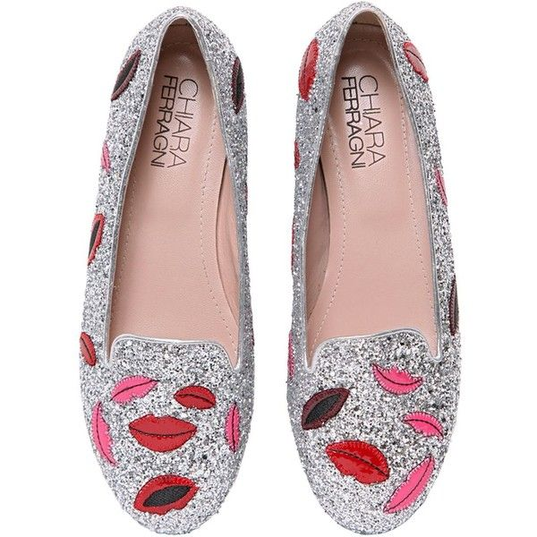 CHIARA FERRAGNI 10mm Lips Glitter Loafers found on Polyvore featuring shoes, loafers, flats, flat shoes, heels, silver, glitter heel shoes, metallic loafers, glitter flats and flat pumps
