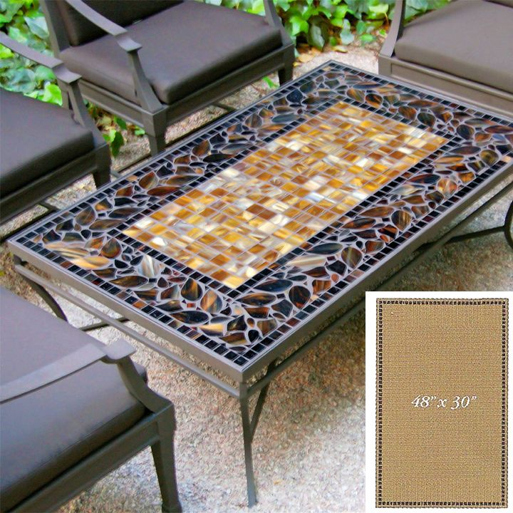 Inspired by nature, these original mosaic tables are truly works of art.  Table tops are fashioned from as many as 2,000 hand-cut tiles of stained glass and tumbled marble they are molded with a uniqu...