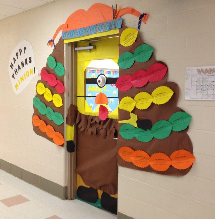 Happy Thanks Minion Turkey classroom door Thanksgiving ...