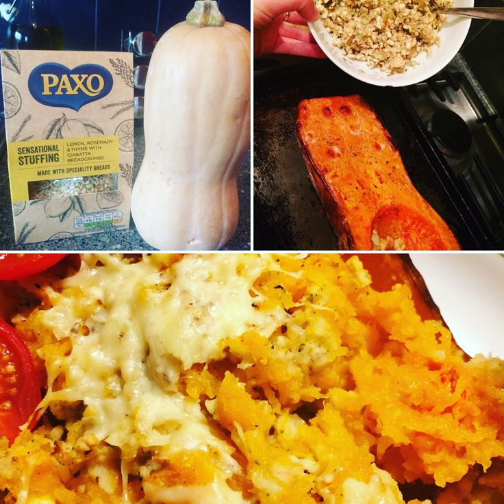 #sponsoredbypremierfoods #gotitfree from #bzzagent - gorgeous butternut squash and paxo sensational lemon, herb and ciabatta stuffing. Roast squash for an hour, scoop out and add stuffing, top with cheese, bake again for 10 mins.