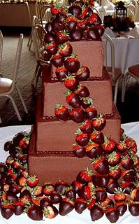 Chocolate covered strawberries wedding cake, very different and fun. I'd want the cake