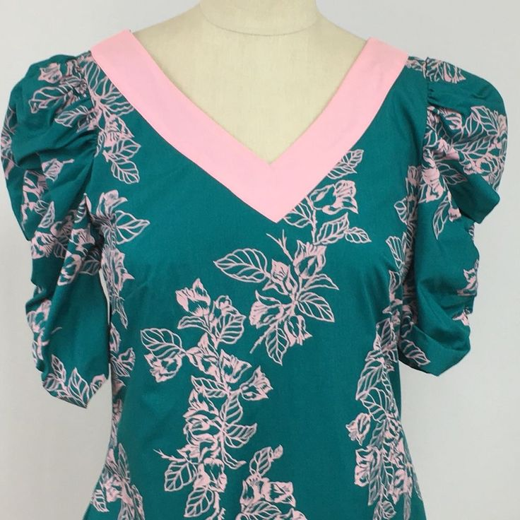 Hilo Hattie Long Maxi Hawaiian MuuMuu Patio Dress Sz 8 Floral Women Blue Pink #HiloHattie #HawaiianMaxiMaxiDress #Casual