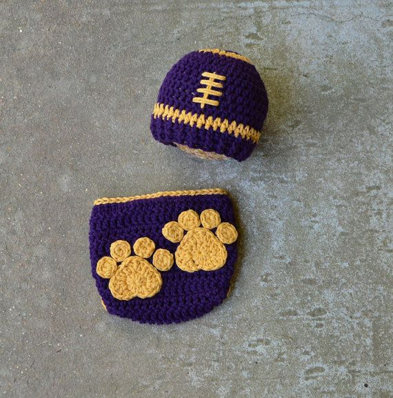 Lsu Football hat and diaper cover by BitofWhimsyCrochet, $ 35.99  – Tannis's favorite crochets