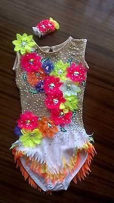 Made To Measure  RHYTHMIC GYMNASTIC Leotard COMPETITION dress White with Flowers